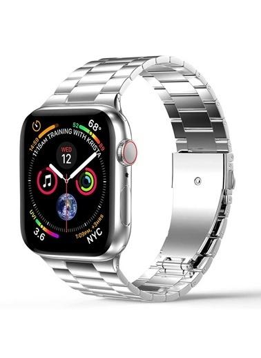 Wiwu Apple Watch 42mm Ultra Thin Steel Belt Three Beads Metal Kordon Gümüş